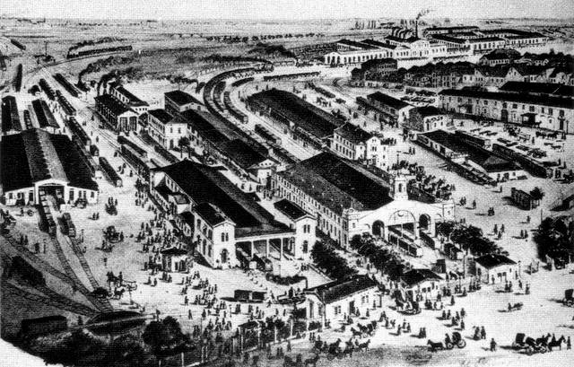 Dresdner Bahnhof (rechts) und Magdeburger Bahnhof (links) in Leipzig, 1862