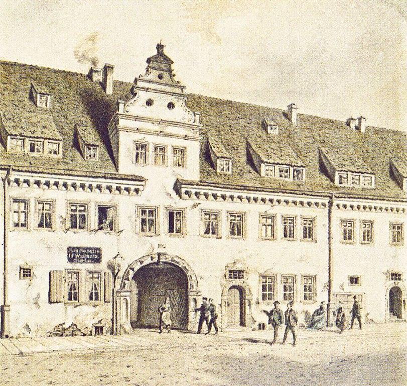 Torhaus des Leipziger Marstalls um 1860